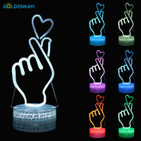 3D Lamp Heart LED Originality Night Lights Atmosphere Table Lamp Visual RGB Bulb Colorful LED Light Cartoon Decor Lamp Gift