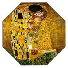 חדש מותאם אישית הנשיקה גוסטב קלימט יצירות אמנות מטריית שמש קרם הגנה אנטי Uv מטריית # QAZ098K