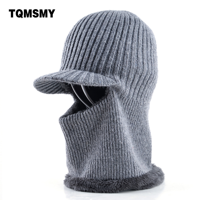 Thickening knitted wool cap Men's winter hat Keep warm beanies men bonnet balaclava face Mask hats for men beanie Dual-use gorro wool felt cowboy hat stetson black 50cm