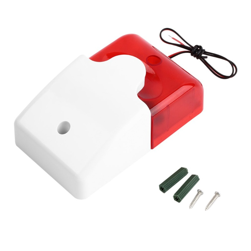 New1Sets Mini Wired Strobe Siren Durable 12V Sound Alarm Strobe Flashing Red Light Sound Siren Home Security Alarm System 115dB
