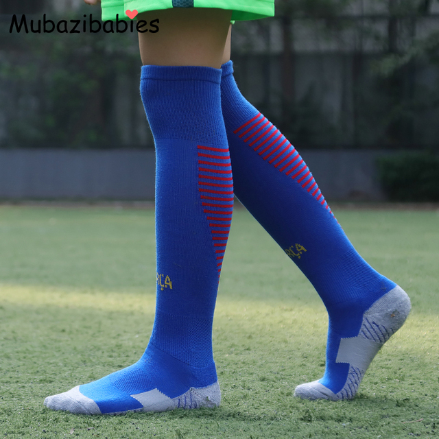 1dcf8c591 Kids Soccer Socks Thickening Towels Boys Long Soccer Sports Cotton Kids  Socks Knee High Long Football