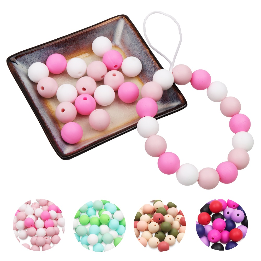 TYRY.HU 50Pcs Silicone Beads Baby Teething Chewable Teethers Safe Toys For Pacifier Chain Leash Decoration BPA Free 9mm