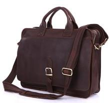 Nesitu Vintage Rindsleder Echtes Leder Männer Aktentasche Portfolio Messenger bags 14 zoll Laptop-tasche # M6020