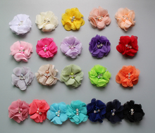 DHL freeshipping 2.3 mini chiffon flower hand sewing crystal and pearl DIY flowers hair accessories Wholesale 1000pcs/lot