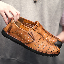 Big Size 38-46 Men Genuine Leather Shoes Fashion Slip on for Breathable Boat Loafers Luxury