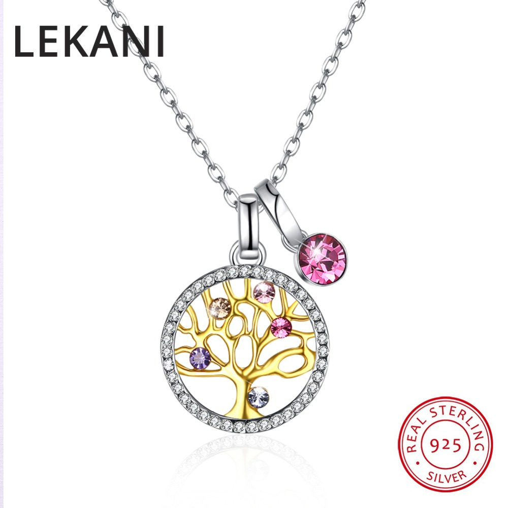 LEKANI Multicolor Crystas From Swarovski Tree Pendant Necklaces Fashion Real S925 Silver Collares With Gold Plated For WomenLEKANI Multicolor Crystas From Swarovski Tree Pendant Necklaces Fashion Real S925 Silver Collares With Gold Plated For Women