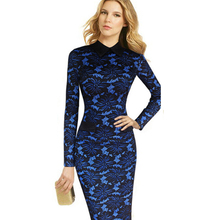 Floral Lace Office Midi Pencil Dress 2016 Spring Women's Elegant Sheath Fitted Long Sleeve Work Business Party Bodycon Dress