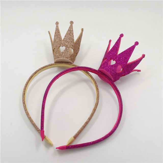 c62e40fb76b 20pcs lot Gold Birthday Crown Hairbands Rose Red Glitter Felt Party Tiara  Headband Child Photo Prop Princess Big Crown Hair Band