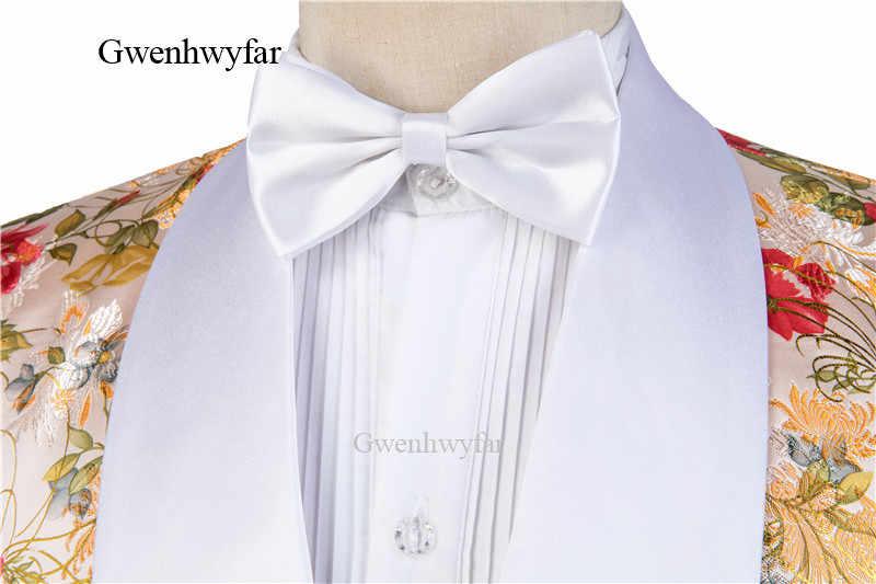 Gwenhwyfar זהב אדמונית דפוס גברים חליפת טור כפתורים כפול חתן טוקסידו צעיף לבן דש גברים של חתונת נשף חליפות בלייזר עם מכנסיים