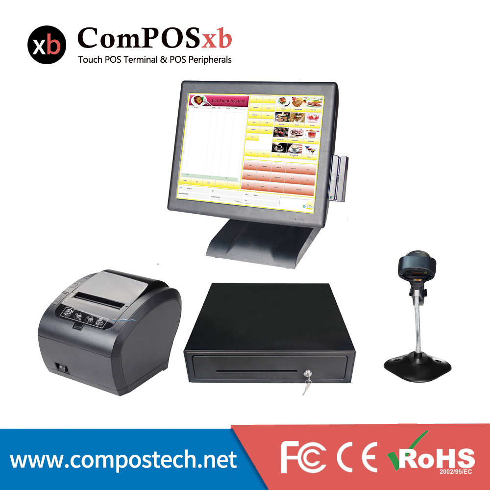A whole set of high speed i3 processor 15 inch windows pos terminal /cash register with accessories for shop