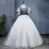 Белое Пышное Платье Иллюзия длина до пола бальное платье v образный вырез Короткие рукава с гофрированными манжетами шнуровка блестками Тю