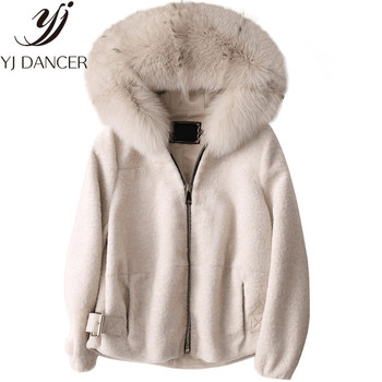 2018 Plus Size Ladies Winter Sheep Shearing Coats Women Real Fur Coat New Fashion Natural Fox Fur Collar Hood Short Wool Jacket image