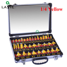 LA VIE 35PCS 1 Set 1/4 Woodworking Router Bits 1/2 Inch Milling Cutter Bits End Mill CNC Engraving Machine Tool MC01001