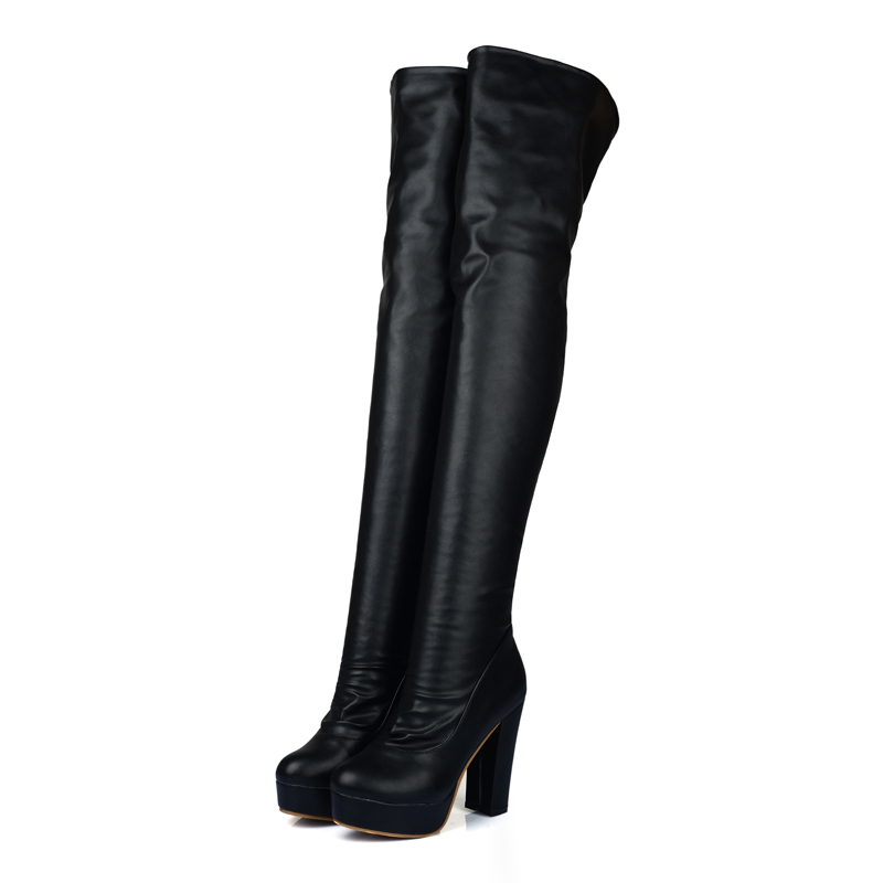 New Sexy Black Brown Women Over the Knee Thigh High Boots Ladies Solid Platform Shoes AI109 Super High Heels Plus Big size 10 43 brand new fashion black yellow women knee high cowboy motorcycle boots ladies shoes high heels a 16 zip plus big size 32 43 10
