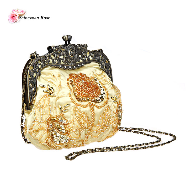 2016 Vintage Women s Small Beaded Sequined Frame Clutch Bags Floral  Embroidery Wedding Bags Women Shoulder Messenger Handbags-in Evening Bags  from Luggage ... 8a5356544e02