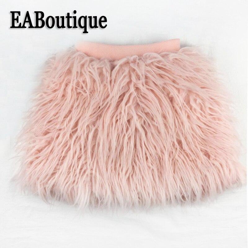 все цены на EABoutique Winter kids skirt Fashion Rock Faux Fur Girls Skirt Warm Casual Nice Fabric Fluffy Bud skirt girl