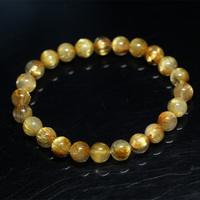 Natural Genuine Arrange Titanium Gold Hair Rutile Quartz Cat's Eye Stretch Bracelet Round Beads 7mm