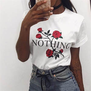 Punk Shirts Short-Sleeve Letter Print Nothing Gray Women Tee-Tops Casual
