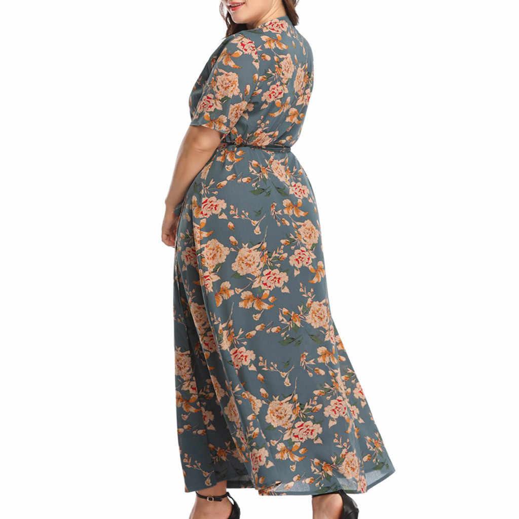 Женское летнее платье с коротким рукавом и цветочным принтом размера плюс 2019, повседневное длинное платье с v-образным вырезом и цветочным принтом sukienka vestidos # G9