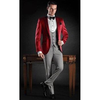 Latest Coat Pant Designs Red Grey Satin Italian Formal Men Suit Slim Fit Wedding Prom Blazers Custom Tuxedo (Jacket+Pants+Vest)