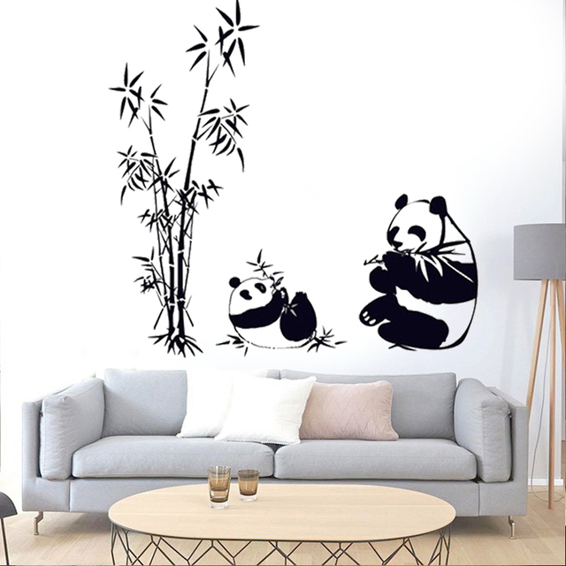 Panda Bamboo Wall Stickers For Kids Room Larger Size Removable Poster Wall  Decals Wallpaper Home Decor