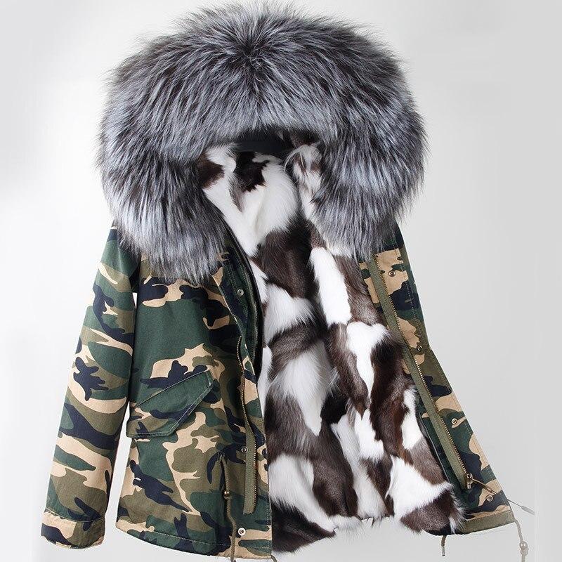 2018 nouveau femmes d'hiver parka militaire camouflage grand raton laveur col de fourrure manteau à capuchon outwear réel fourrure de renard doublure veste marque