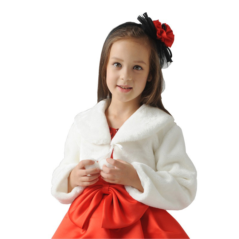 2017 New flower Girls Long Sleeve Winter Wedding Faux Fur Bolero cheap Baby Girls Soft Party Coat Kids Fall Wedding Cape