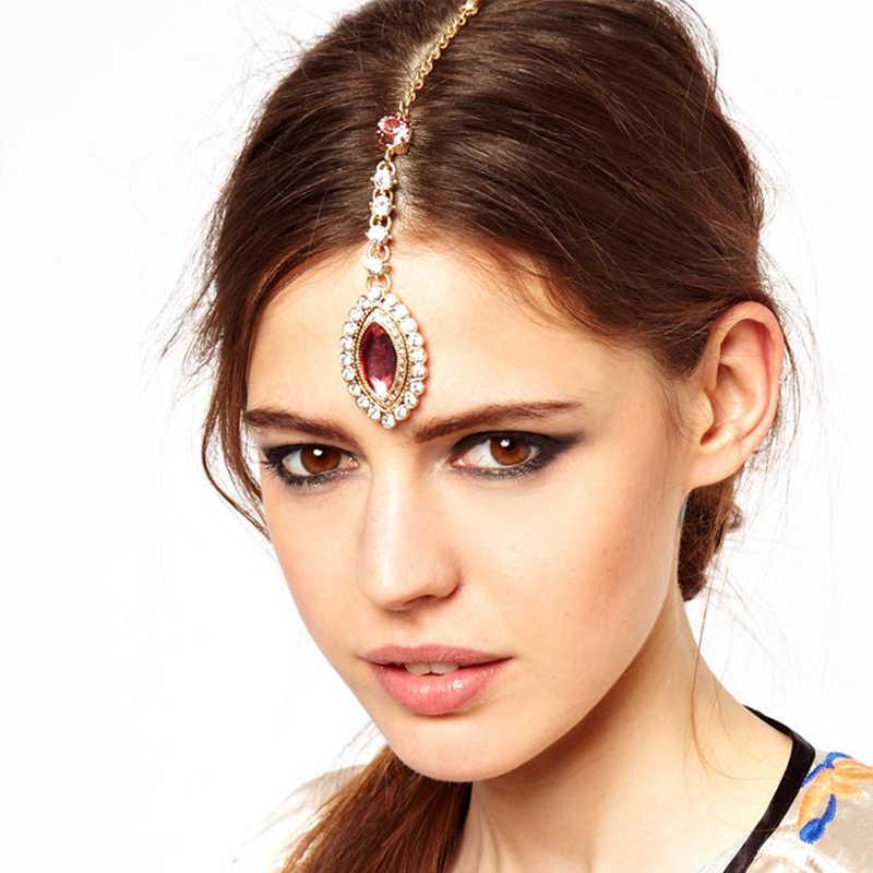 スパークリングピンククリスタル額ヘッドバンドゴールドラインストーンチェーンとヘアピンティッカかぶと髪の宝石