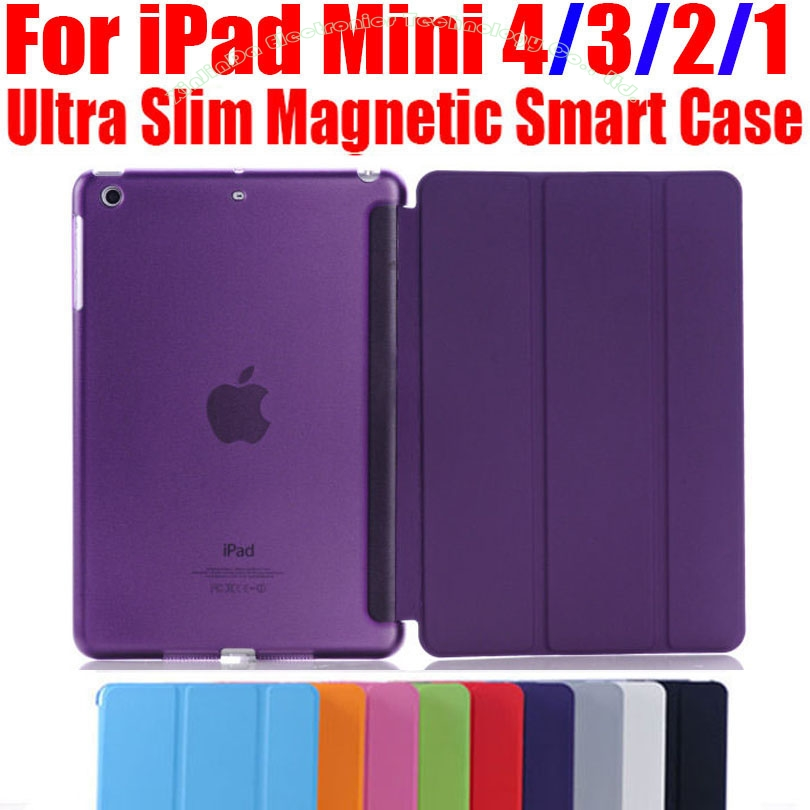 Smart Cover For iPad Mini4 Ultra Slim PU Leather Case + PC translucent back case for Apple ipad mini 4 3 2 1 IM401 smart case for ipad mini 4 case transformer folding with stand slim pu leather transparent back cover for ipad mini4 7 9