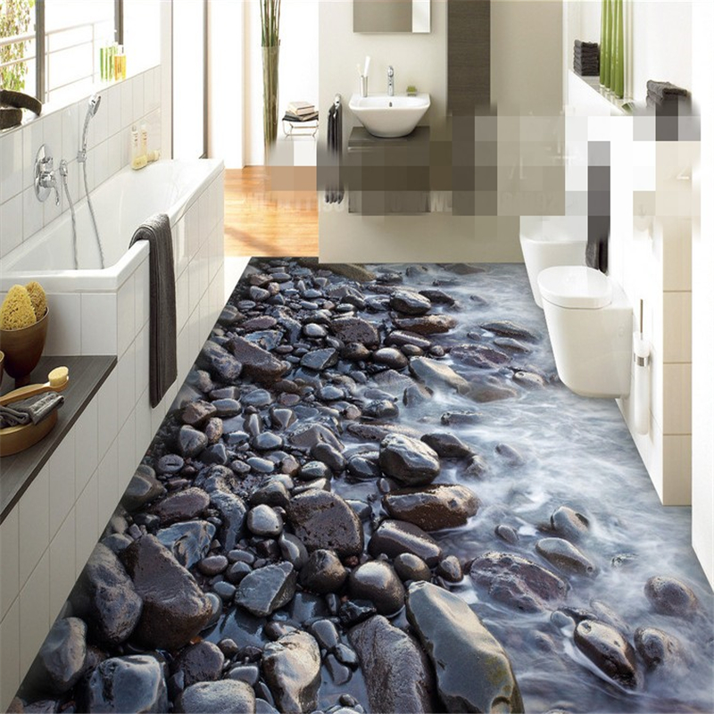 beibehang Custom fantasy painting pvc 3d flooring painting river stone for indoor bathroom bedroom papel de parede 3d wallpaperbeibehang Custom fantasy painting pvc 3d flooring painting river stone for indoor bathroom bedroom papel de parede 3d wallpaper