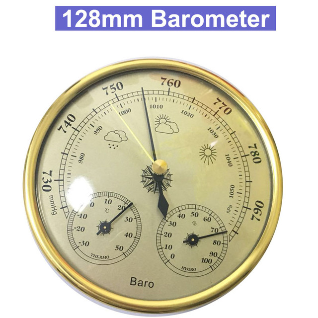 Hot High Accuracy Household 128mm Weather Station Barometer Thermometer Hygrometer Wall Hanging Tester Tool