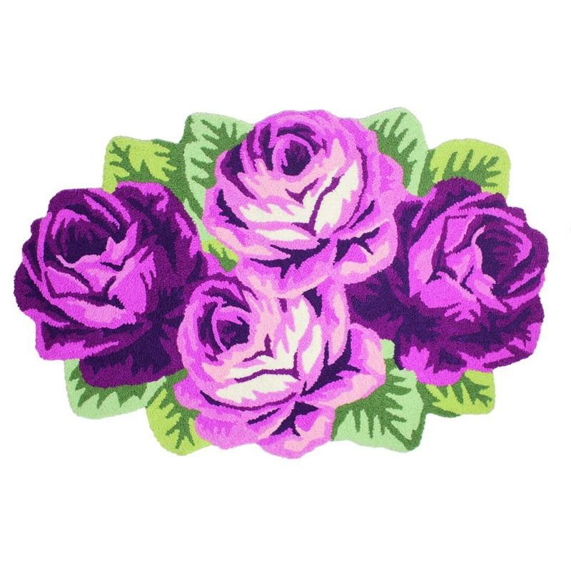 Tapis et tapis de fleurs Roses/violettes/4 Roses faits à la main