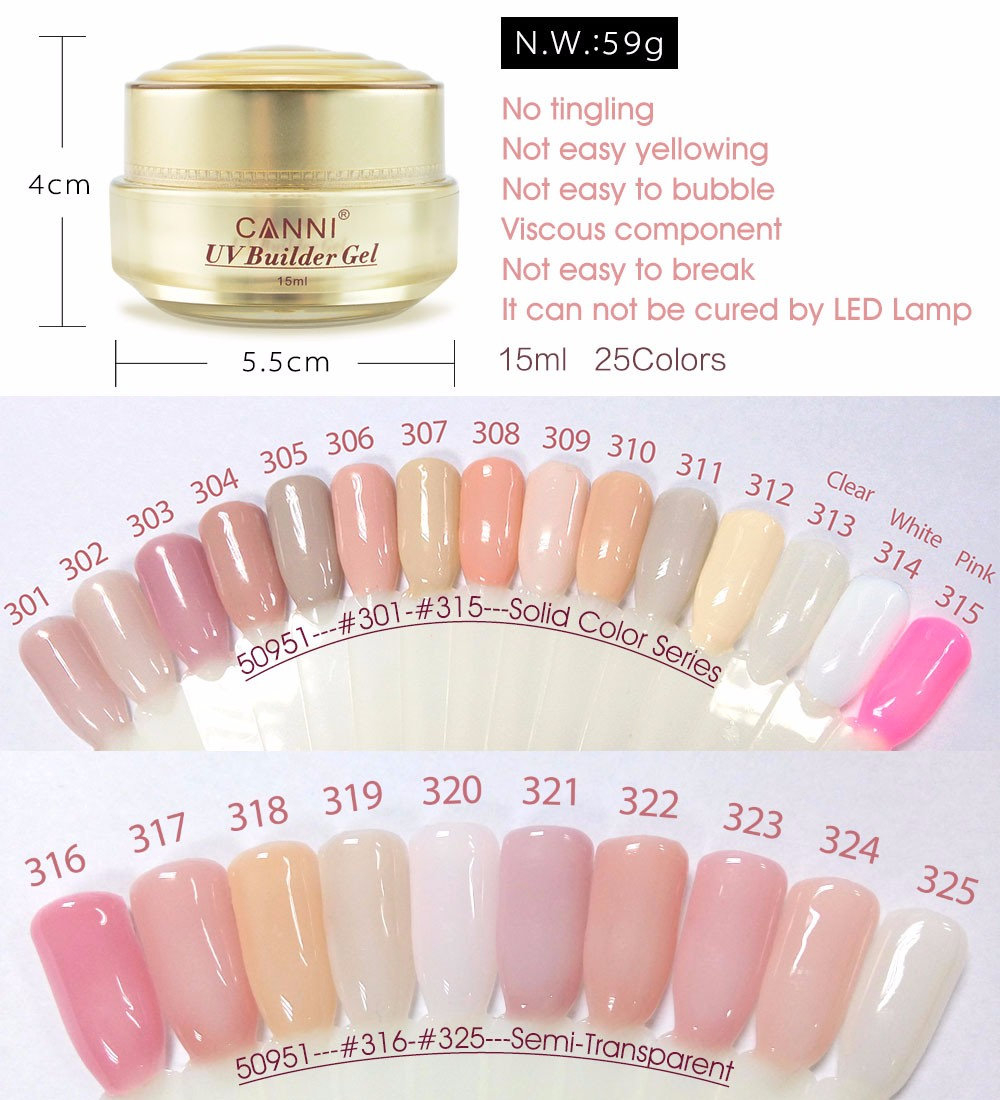 50951 Thick Builder Gel Nails Pink Canni 15ml Finger Nail Extension Uv Cover Camouflage In From Beauty Health