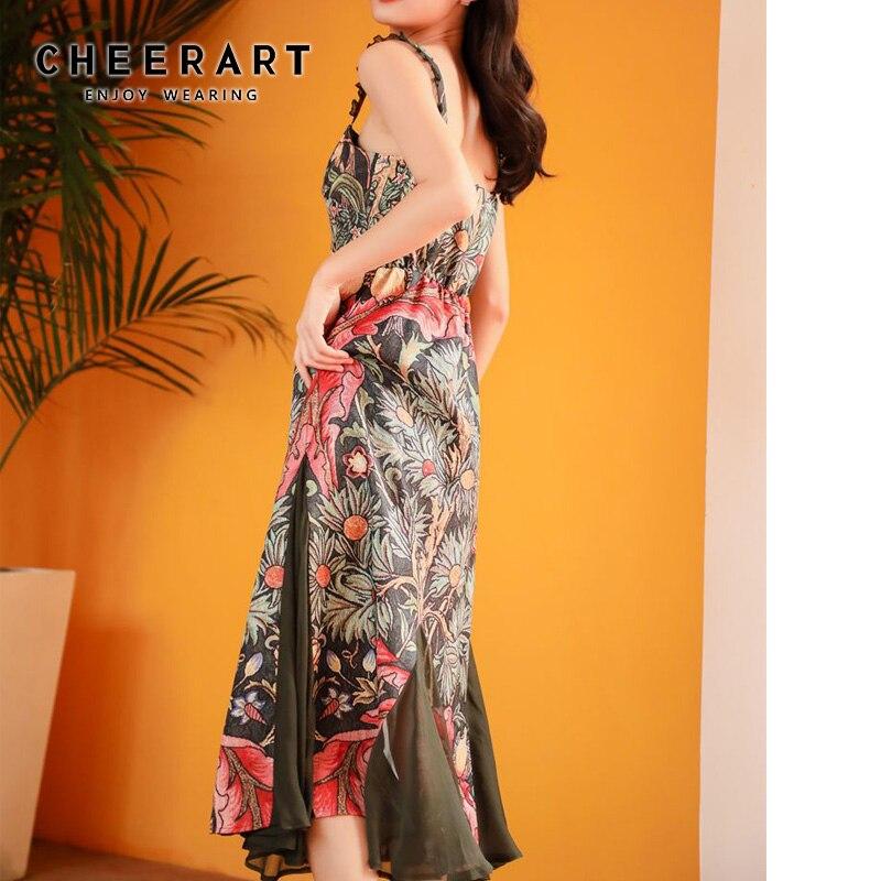 Cheerart Vintage robe à bretelles Spaghetti été col carré dos nu imprimé Floral longue robe moulante Midi femmes