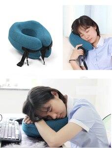 Image 5 - Ayarlanabilir U Şekli Bellek Köpük seyahat boyun yastığı Katlanabilir Kafa Çene Desteği Yastık Uyku Uçak Araba Ofis Yastıkları