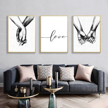 Nordic Poster Black And White Holding Hands Canvas Wall Art Prints Lover Quote Pictures For Living Room Minimalist Decoration