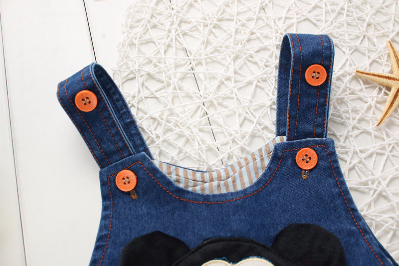 BibiCola-spring-fashion-leisure-Pant-for-Baby-Girls-bib-pants-children-Denim-Overall-Trousers-kids-cartoon-infant-jeans-1