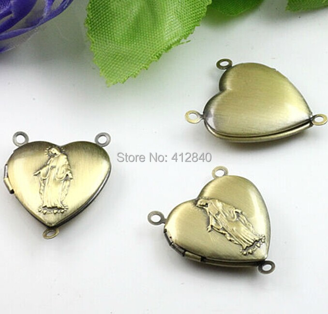 DIY jewelry accessories 100pcs Wholesale ANTIQUE BRONZE 20mm Heart-Shaped Photo Locket Frame Charm & Pendant Necklace Findings