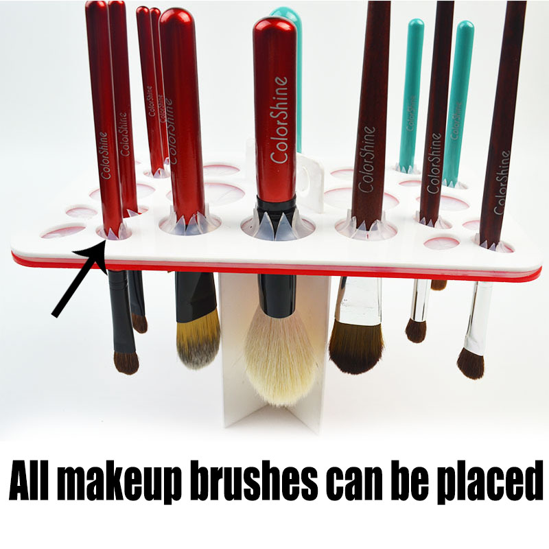 Makeup Brushes 26 Holes Acrylic  Holder Stand Collapsible Air Drying Makeup Brush Organizing Rack Cosmetic Holder AS748 easy install brush drying rack tree for different standard holes random color