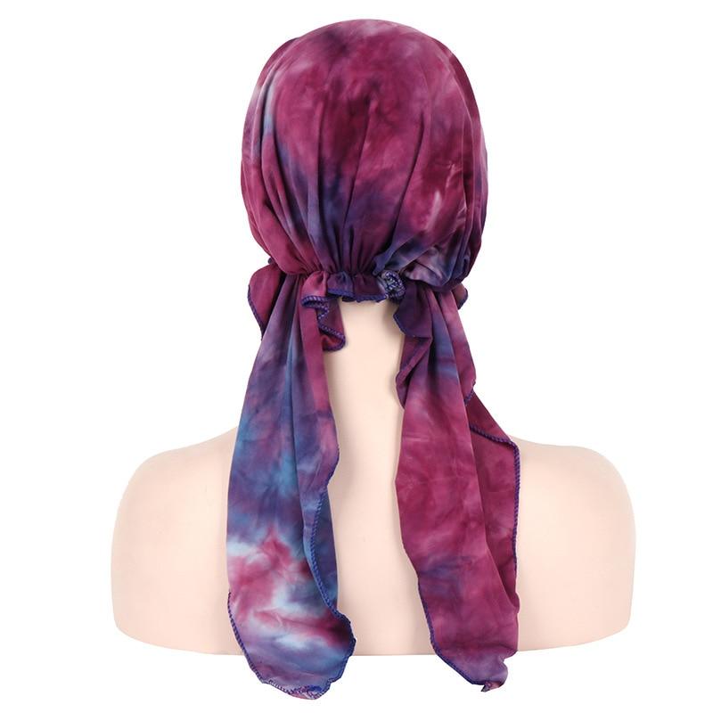 Image 5 - Мягкая шапка тюрбан для женщин, предварительно связанный шарф,  хлопковая шапочка при химиотерапии, шапки бандана, головной платок,  повязка на голову, аксессуары для волос с ракомЖенские аксессуары для  волос