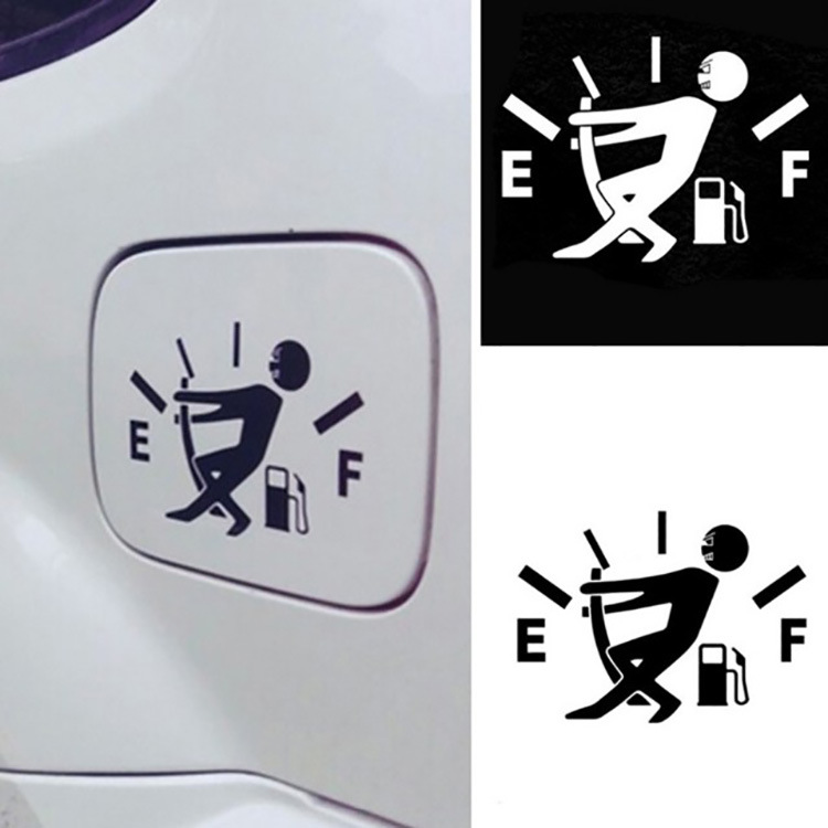 Funny Gas Consumption Decals Fuel Tank Gage Gas Empty Car Styling Reflective Vinyl Stickers 12.7x9.2CM