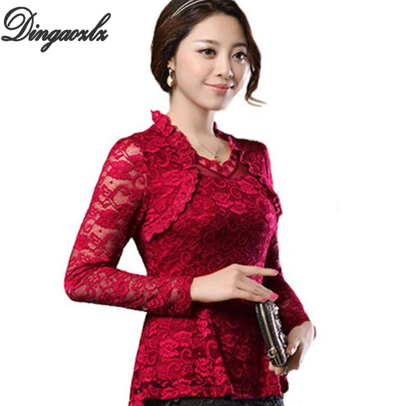 2018 Plusz méretű női ruházat Tavaszi csipke póló Felsők Kivágás alapvető női elegáns hosszú ujjú csipke blúz ingek M-4XL