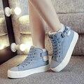 Высокий верх мода женская зимняя обувь 2016 новый джинсовой холст обувь женская теплый повседневная снег сапоги botas invierno mujer повседневная