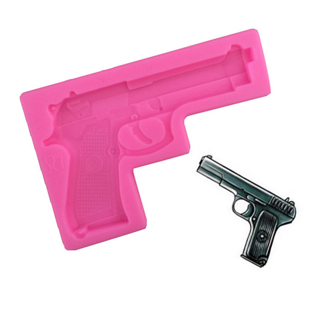 Hot 1PCS Gun Toy Shape Silicone Cake Molds Bakeware Decorating Cartoon cakes mold DIY Soap Molds for kids