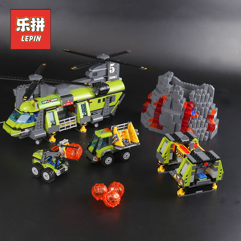 Lepin 02087 New City Series the Volcano Heavy-Lift Helicopter Set Legoinglys 60125 Building Blocks Bricks DIY Gifts for Children hot city volcano heavy lift helicopter building block transporter truck forklift expedition figures bricks 60125 toys for gifts
