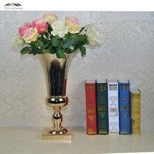 2Pcs/lot GoldMetal Wedding Flower Vase Table Centerpiece For Mariage Metal Vase Flowers Vases Pots For Wedding Decoration 06