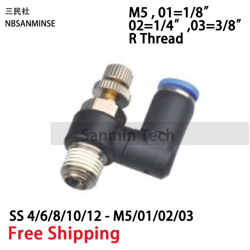 10Pcs / Lot SS Male Thread 1/8 1/4 3/8 1/2 Pneumatic Air Speed Throttle Flow Control Valve Fittings Swivel Connector Sanmin 2 pcs lot 3 8 male thread to 8mm elbow pneumatic connector fittings discount 50