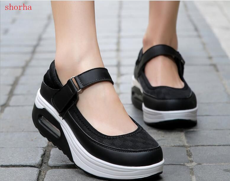 ad25ed9461 New shoes Women Shoes Inside Increasing High Casual Woman Ladies slim Flats  Shoes footwear Sale Thick soled platform shoes-in Women's Flats from Shoes
