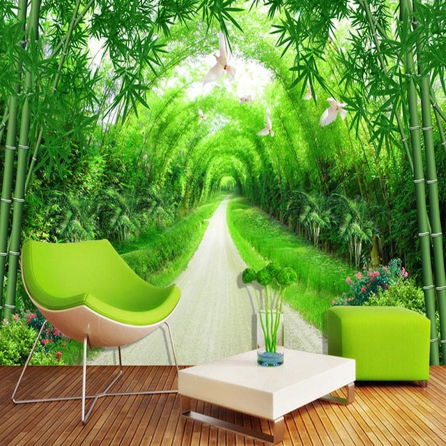 US $9 66 46% OFF|Custom Any Size Mural Wallpaper 3D Stereo Fresh Green  Bamboo Forest Path Photo Wall Murals Spatial Extension Papel De Parede 3  D-in