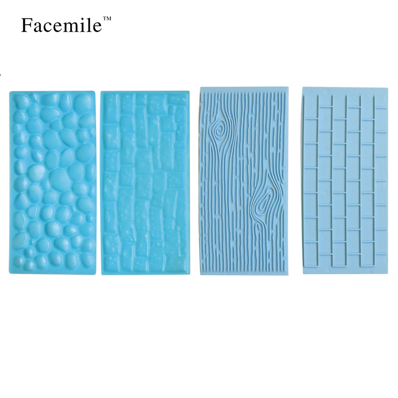 Facemile 4Pcs/Set Gumpaste Embosser Fondant Decoration Tools Fondant Impression Mat Sugarcraft Decorating Tool ZH014